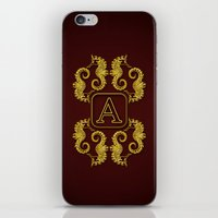 Letter A Seahorse iPhone & iPod Skin
