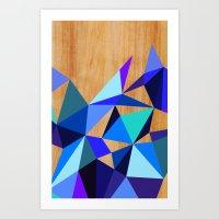 Wooden Geo Blue Art Print