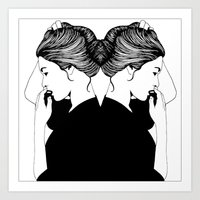 girls Art Prints featuring GIRLS by NATTSKIFTET