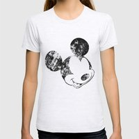 Mickey Grunge Womens Fitted Tee Ash Grey SMALL