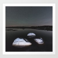 Boulders In Black Art Print