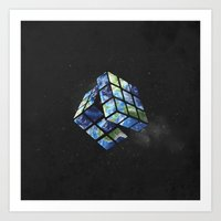 rubik's earth Art Print