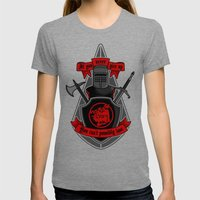 Never Give Up Womens Fitted Tee Tri-Grey SMALL