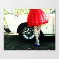 a girl and her car Canvas Print