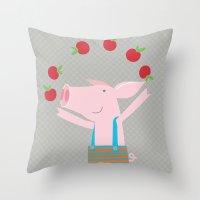 little pigs like apples Throw Pillow