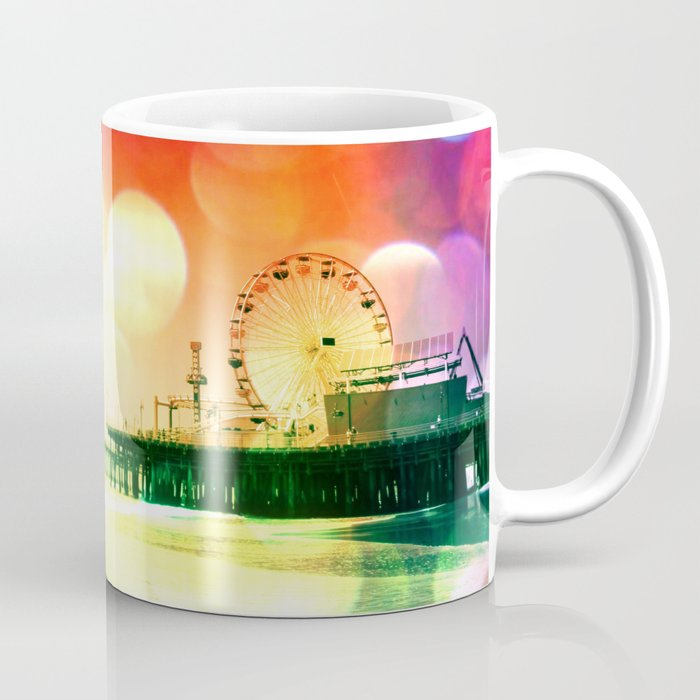 Santa Monica Pier Bursting Colors 11oz Coffee Mug by Christine Aka Stine1