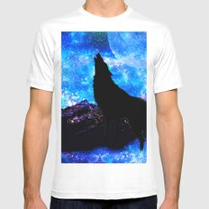 NIGHT WOLF SMALL Mens Fitted Tee White