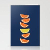 Citrus Tip - indigo & tangerine Stationery Cards