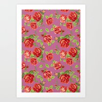 Rose Pattern- Pink Art Print