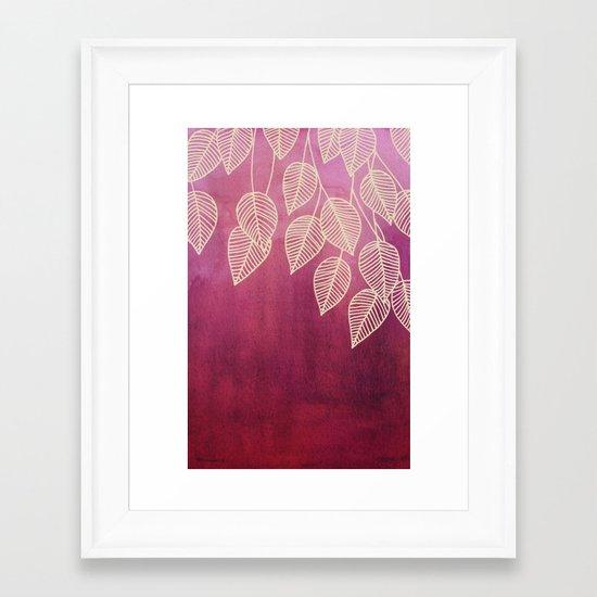 Magenta Garden - watercolor & ink leaves Framed Art Print