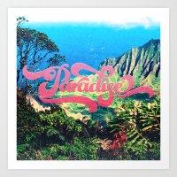 Pink Teal Retro Paradise Vintage Style Photography Art Print