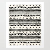 Tribal Vintage Stripe Bl… Art Print