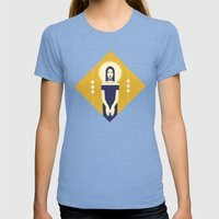 Phaedra Yellow Womens Fitted Tee Tri-Blue SMALL