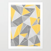 Pattern, grey - yellow Art Print