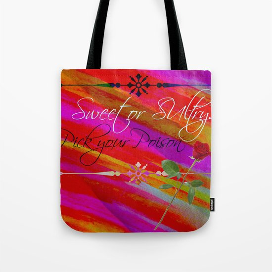 Sweet or Sultry - Sexy Crimson Red Valentine's Day Stripes Typography Abstract Watercolor Painting Tote Bag
