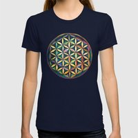 Flower Of Life Womens Fitted Tee Navy SMALL