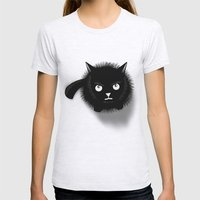 Cat Womens Fitted Tee Ash Grey SMALL