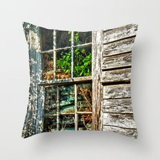 Overgrown Behind the Window Throw Pillow