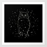 Art Print featuring Owl Constellation  by Terry Fan