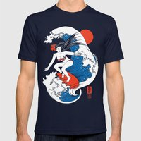 Back To The Water / Original A4 Illustration / Pen & Ink Mens Fitted Tee Navy SMALL