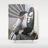 Shower Curtain featuring OBJECTS IN THE MIRROR AR… by Julia Lillard Art