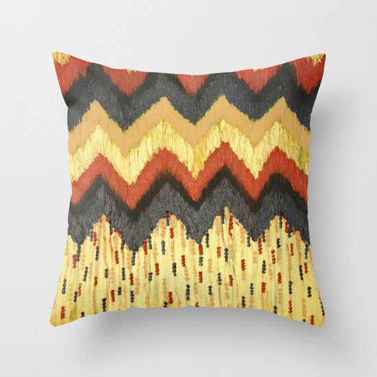 SHINE ON - Gold Glam Chevron Colorful Abstract Acrylic Pattern Painting Modern Home Decor Fine Art Throw Pillow