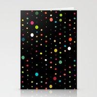 retro rain spots black Stationery Cards
