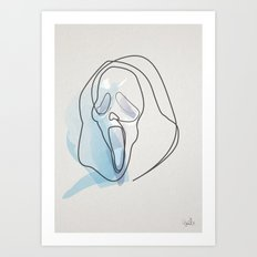 One line Scream Mask Art Print