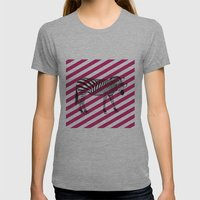 Nerd Zebra (Pink) Womens Fitted Tee Athletic Grey SMALL