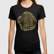 Gold Tree Rings Womens Fitted Tee Tri-Black SMALL