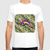 DOLPHIN COLORS 3D Mens Fitted Tee White SMALL
