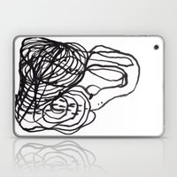 Paint 2 abstract black and white minimal brushstroke japanese modern home decor dorm college  Laptop & iPad Skin