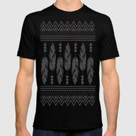 Tribal Feathers-Black & … Mens Fitted Tee Black SMALL