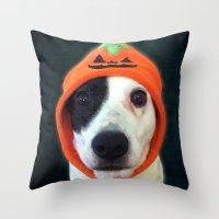 Pumpkin Dog Throw Pillow