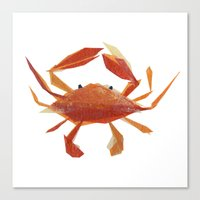 Canvas Print featuring Clementine Crab by Darrah Gooden