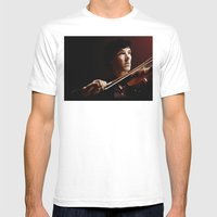 Violin Mens Fitted Tee White SMALL