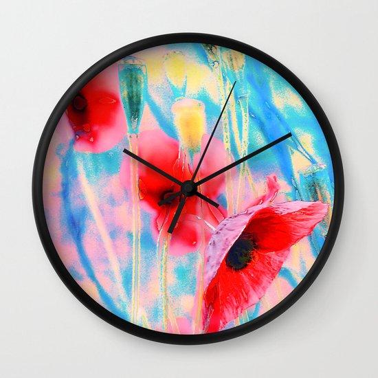 Poppies(morning light). Wall Clock