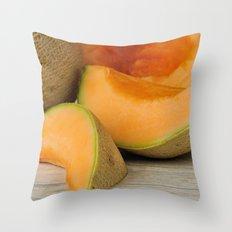 Fresh ripe delicious cantaloupes Throw Pillow