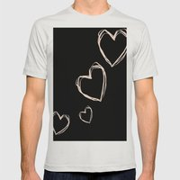 Love Hearts  Mens Fitted Tee Silver SMALL