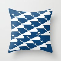 Whale in the ocean Throw Pillow