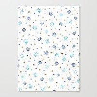 Watercolour Daisies & Stars Canvas Print