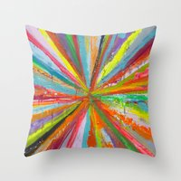 Exploding Rainbow Throw Pillow