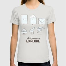 Let's Go Explore Womens Fitted Tee Silver SMALL