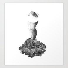 Lady, black and white Art Print