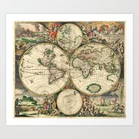 Old Map Of World Hemisph… Art Print