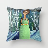 Aurora Leaves the City Behind Throw Pillow