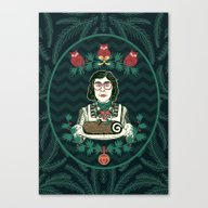 Yule Log Lady (in Green) Canvas Print