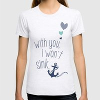 With You I Wont Sink Womens Fitted Tee Ash Grey SMALL