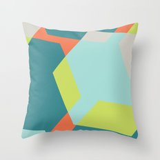 Hex - Teal Throw Pillow