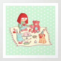 Tea party! Art Print